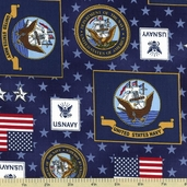 Patriots 5 Cotton Fabric Navy ETK-11010-9
