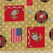 Patriots 5 Marines Cotton Fabric - Tan ETK-11011-13 TAN