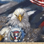 Patriots Eagles Cotton Fabric - Americana