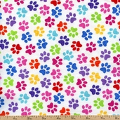 Paws Cotton Flannel Fabric - Multi GAIL-CF9328