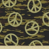Peace Army Cotton Fabric - Toss - Camo - Clearance