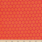 Peak Hour Circles Flannel Fabric - Red