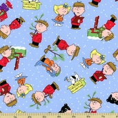 Peanuts Christmas Time Character Toss Cotton Fabric - Blue