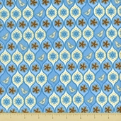 Pear Tree Cotton Fabric - Allover Partridges - Blue - Clearance