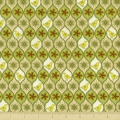 Pear Tree Cotton Fabric - Allover Patridges - Green