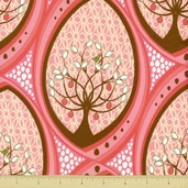 Pear Tree Cotton Fabric - Partridge in a Pear Tree - Pink