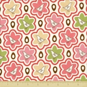 Pear Tree Cotton Fabric - Partridge Starburst - Pink - Clearance