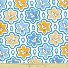 Pear Tree Cotton Fabric - Patridge Starburst - Blue - CLEARANCE