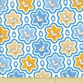 Pear Tree Cotton Fabric - Patridge Starburst - Blue