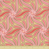 Pear Tree Cotton Fabric - Swirls - Pink - Clearance