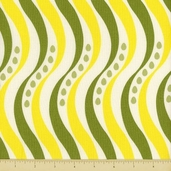 Pear Tree Cotton Fabric - Wavy Stripe - Green - Clearance
