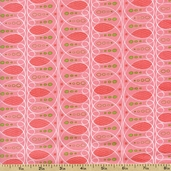 Pear Tree Curly Stripes Cotton Fabric - Pink 5555