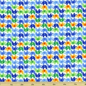 Pee Wee Parade Mini Flannel Cotton Fabric - White CF9309