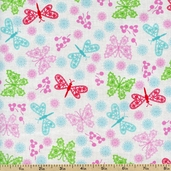 Peggy Sue Butterflys Cotton Fabric - White 120-4801