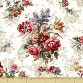 Penelope Cotton Fabric - Floral Bouquets - Cream