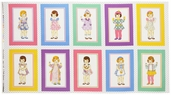 Penny and Friends Cotton Fabric Panel - Vintage