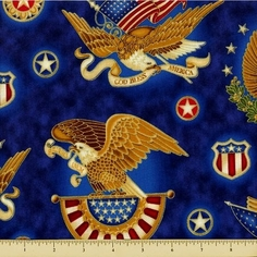 People's House Cotton Fabric - Eagle Seal - Americana