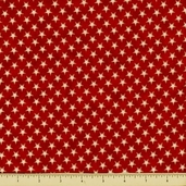People's House Cotton Fabric - Stars - Red
