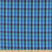 Peppered Checks Chambray Fabric - Deep Water