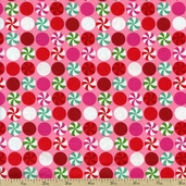 Peppermint Dot Packed Cotton Fabric - Pink