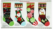 Peppermint Twist Stocking Panel Cotton Fabric - White