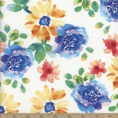 Petal Poetry Floral Cotton Fabric - White
