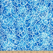 Petal Poetry Scroll Cotton Fabric - Blue