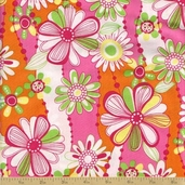 Petal Pusher Cotton Fabric - Pink Floral