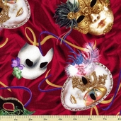 Phantom of the Opera Masquerade Cotton Fabric - Wine 22410-M