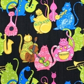 Phat Cat Jazz Cotton Fabric - Multi Dots