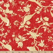 Pheasant Run Bird Branches Cotton Fabric - Red