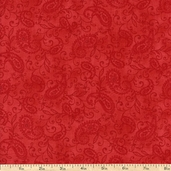 Pheasant Run Small Paisley Cotton Fabric - Red