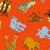 Photo Safari: Tossed Animals Red from Avlyn Fabrics - CLEARANCE