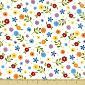 Piccadilly Lane Cotton Fabric - Floral - White