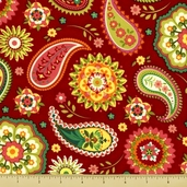 Piccadilly Lane Cotton Fabric - Paisley - Red