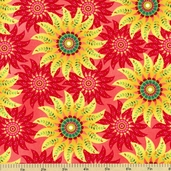 Piccadilly Lane Floral Cotton Fabric - Red