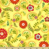 Piccadilly Lane Floral Cotton Fabric - Yellow