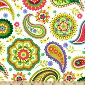 Piccadilly Lane Paisley Cotton Fabric - White