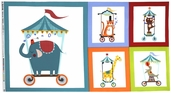 Pierre's Famous Traveling Circus Cotton Fabric - Fun at the Circus Panel - Multi Color DC5713-MULT-D