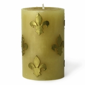 Pillar Candle Hand Crafted Rolled Beeswax - Gold Fleur de Lis - Clearance