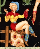 Pin-Up Back in the Saddle Cotton Fabric