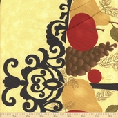 Pine Fresh Gift Panel Cotton Fabric - Beige