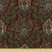 Pine Tree Cotton Fabric - Paisley - Rust