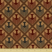 Pine Tree Cotton Fabric - Tribal - Beige - CLEARANCE
