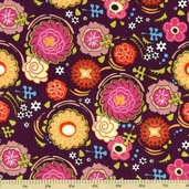 Pink Dazzled Floral Cotton Fabric - Plum