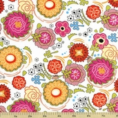 Pink Dazzled Floral Cotton Fabric - White