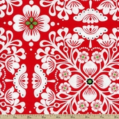 Pippa Large Floral Cotton Fabric - Red