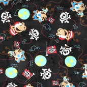Pirate Monkey Cuddle Minky Fabric - Black