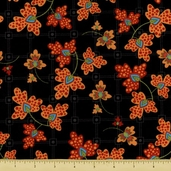 Pizazz-A Contemporary Cotton Fabric - Modern Floral - Black