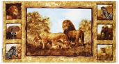 Plains Of Africa Panel Cotton Fabric - Gold